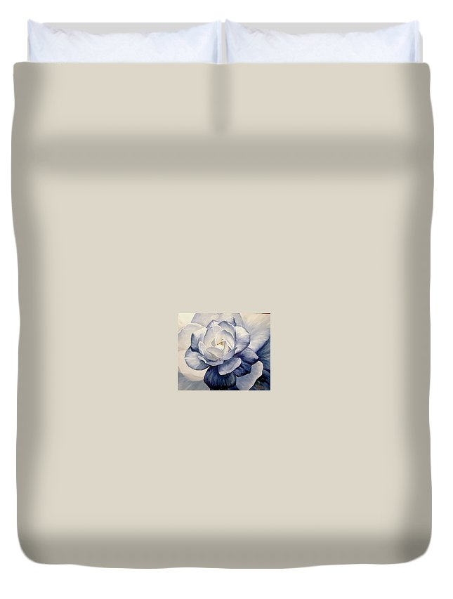 Flower Macro Nature Blue Gardenia Duvet Cover featuring the painting Blue by Natalia Tejera