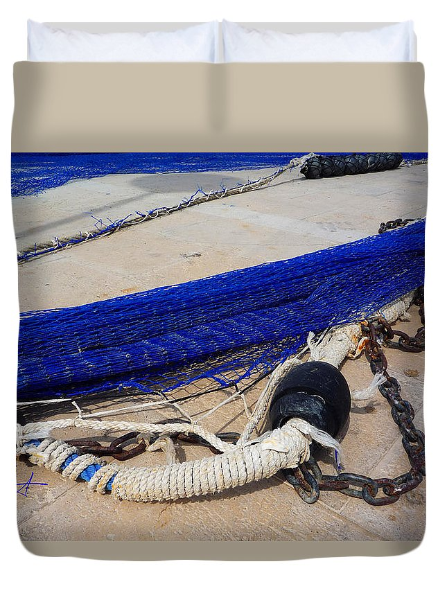 Fishing Net Duvet Cover featuring the photograph Blue Net by Charles Stuart