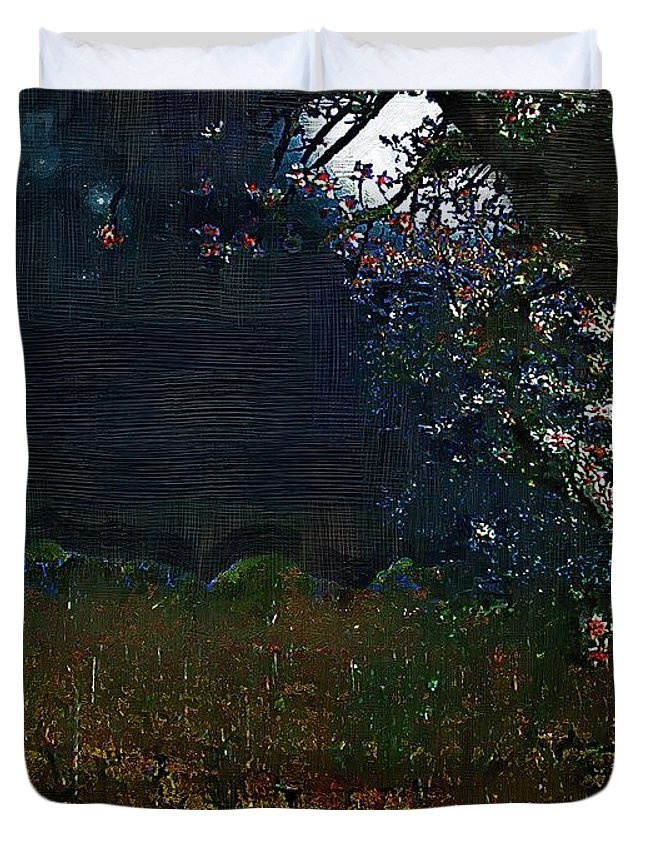 Dark Duvet Cover featuring the painting Blue Night In The Field by RC DeWinter