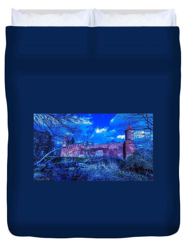 Poland Duvet Cover featuring the photograph Blue Night Over Teutonic Castle by Julis Simo