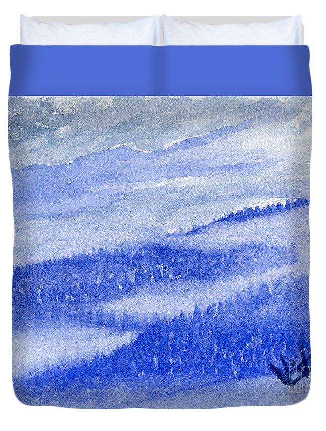 Mountains Duvet Cover featuring the painting Blue Noon In Western Montana by Victor Vosen
