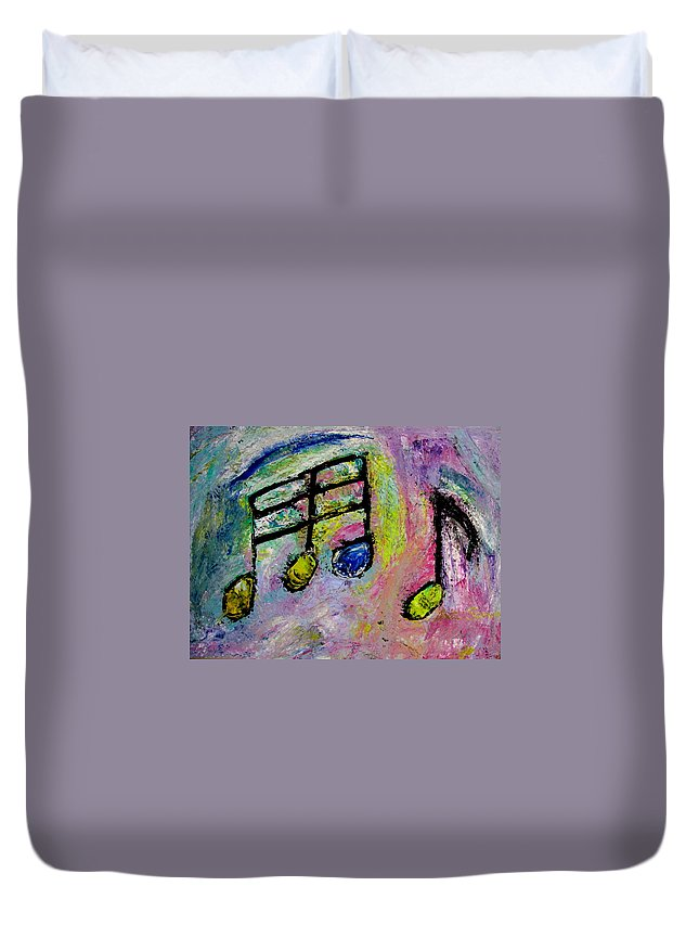 Impressionist Duvet Cover featuring the painting Blue Note by Anita Burgermeister