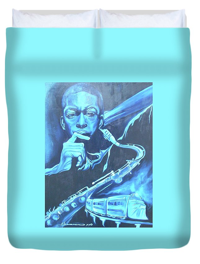 Jazz Duvet Cover featuring the painting Blue Note by Hasaan Kirkland