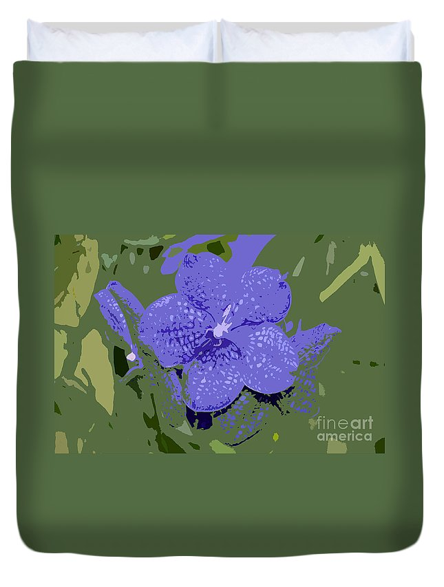 Flower Duvet Cover featuring the photograph Blue On Green Work Number 9 by David Lee Thompson