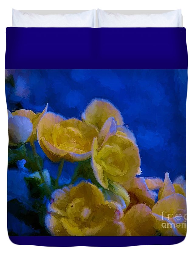 Blue Duvet Cover featuring the painting Yellow On Blue by James Shinn