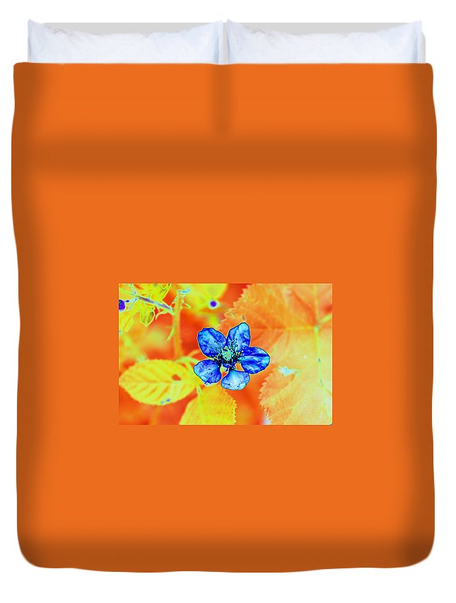 Flower Duvet Cover featuring the photograph Blue on Yellow by Richard Henne