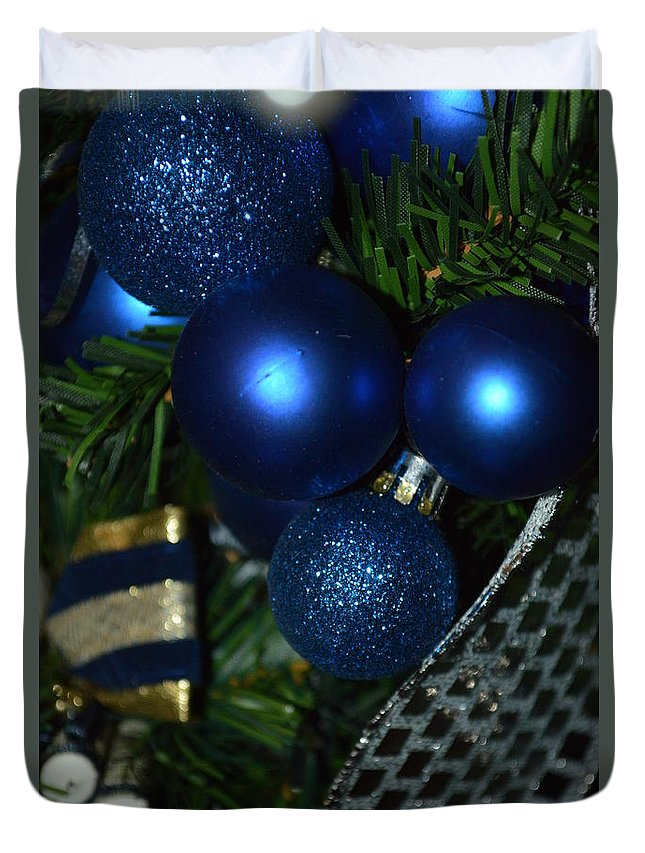 Christmas Card Duvet Cover featuring the photograph Blue Ornament by Tammy Stoner