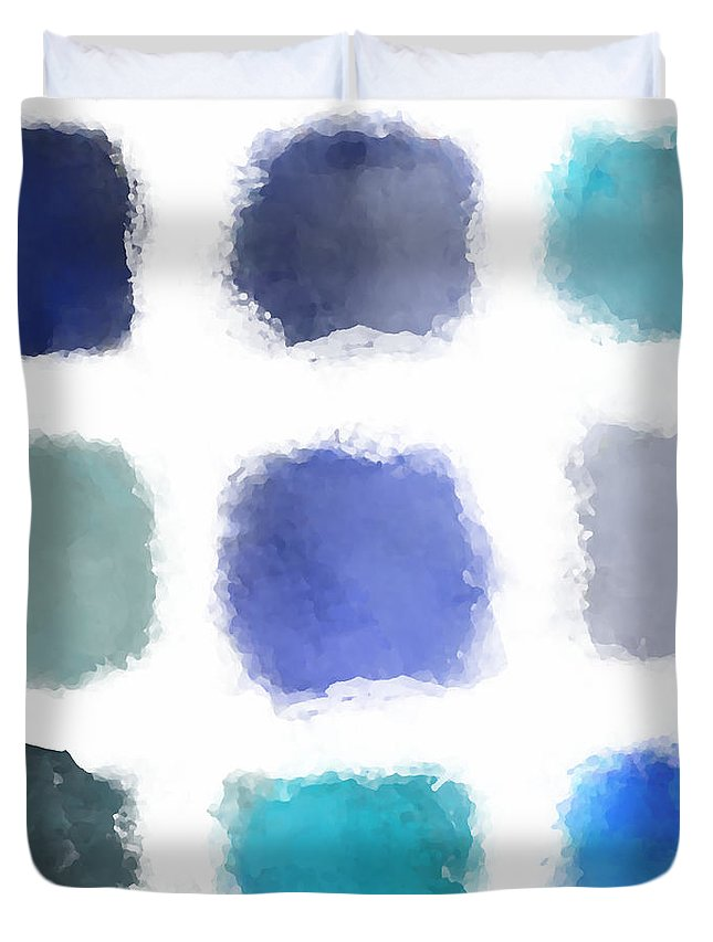 Blue Duvet Cover featuring the digital art Blue Palette, No.1 by Elegant and Coastal