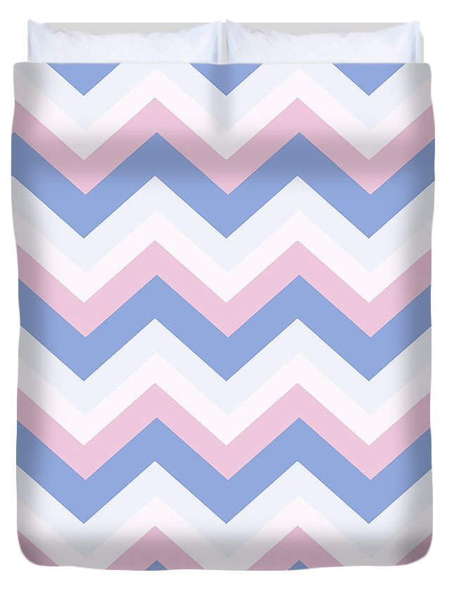 Blue Duvet Cover featuring the mixed media Blue Pink Chevron Pattern by Christina Rollo