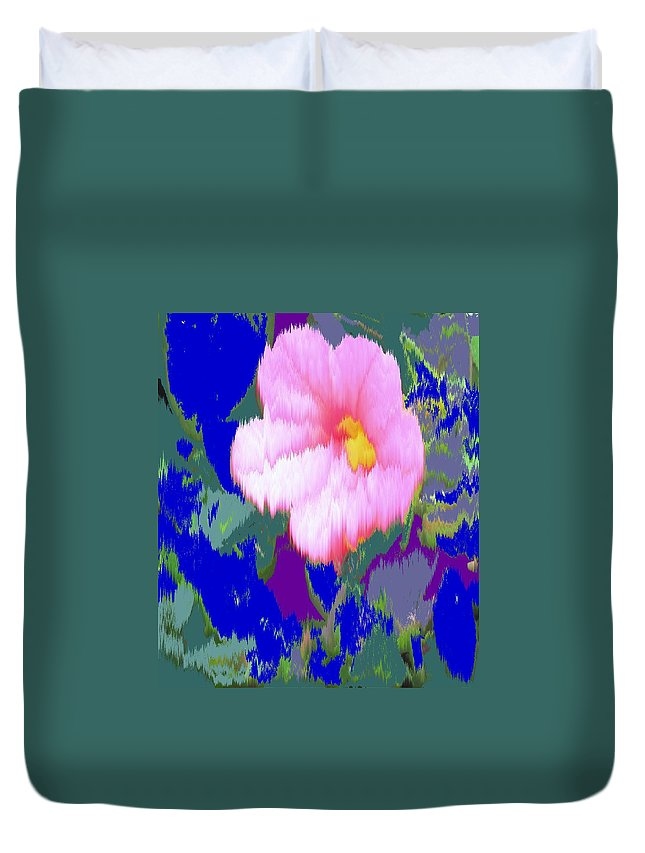 Flower Duvet Cover featuring the photograph Blue Pink by Ian MacDonald