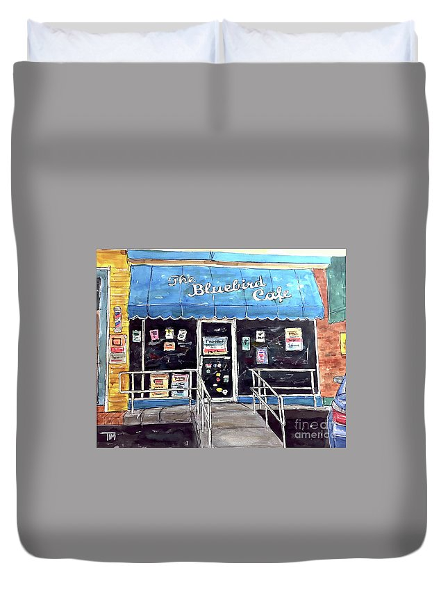 Bluebird Duvet Cover featuring the painting Blue Plate Special by Tim Ross