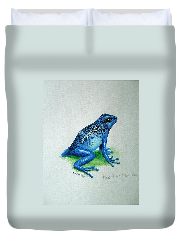 Poison Arrow Frog Duvet Cover featuring the painting Blue Poison Arrow Frog by Christopher Cox