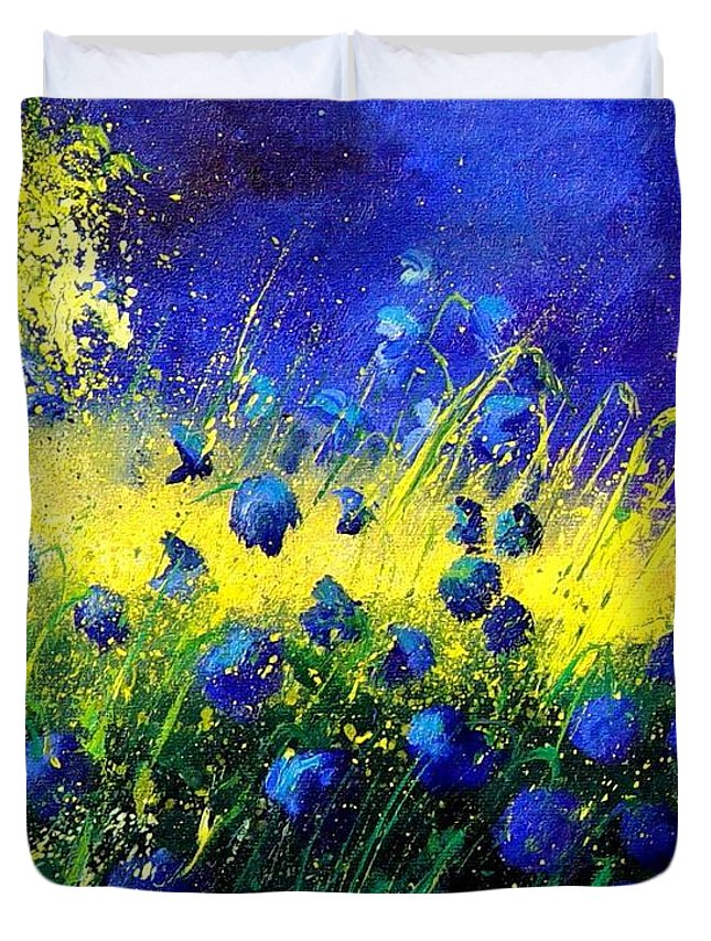 Flowers Duvet Cover featuring the painting Blue Poppies by Pol Ledent