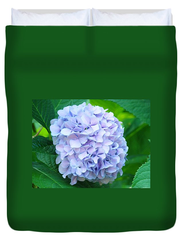 Green Duvet Cover featuring the photograph Blue Purple Hydrandea Floral Art Botanical Prints Canvas by Baslee Troutman