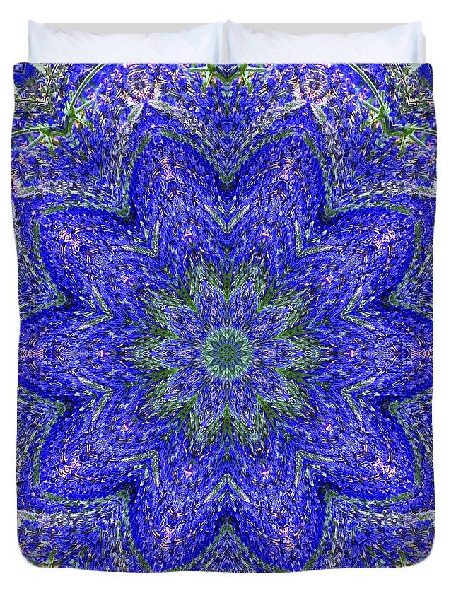 Kaleidoscope Duvet Cover featuring the photograph Blue Purple Lavender Floral Kaleidoscope Wall Art Print by Carol F Austin