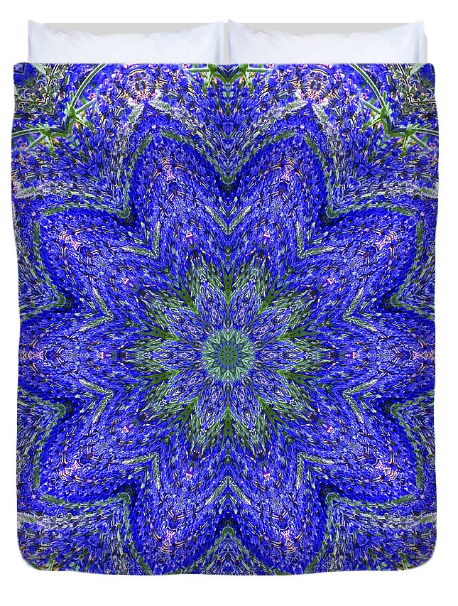 Kaleidoscope Duvet Cover featuring the photograph Blue Purple Lavender Floral Kaleidoscope Wall Art Print by Carol F Austin