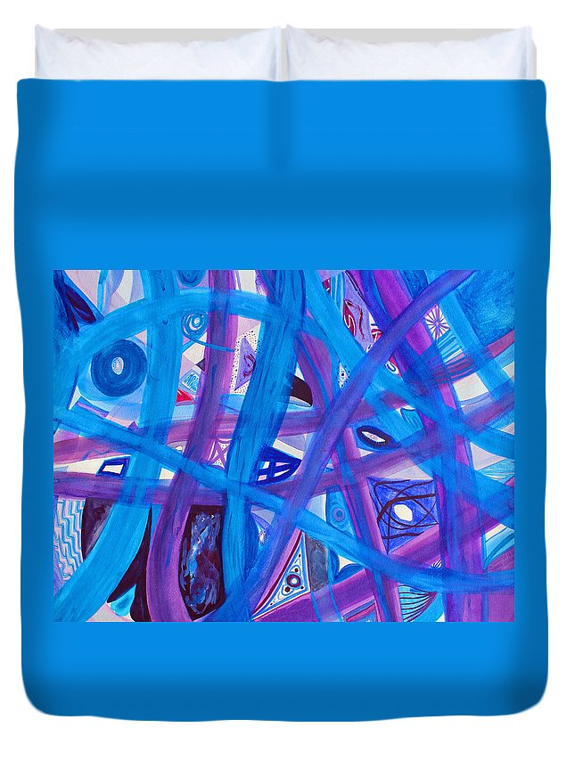 Abstract Duvet Cover featuring the painting Blue Purple Paths by Lee Serenethos