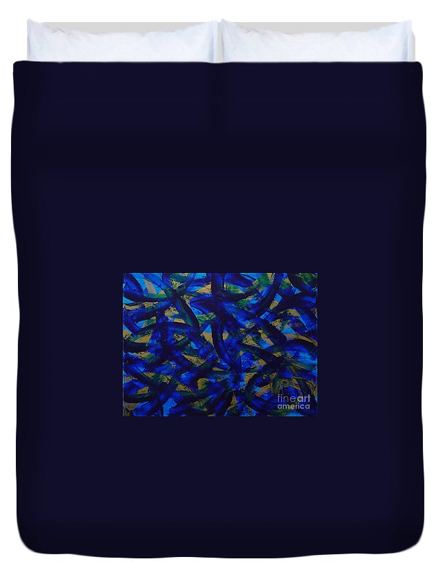 Abstract Duvet Cover featuring the painting Blue Pyramid by Dean Triolo