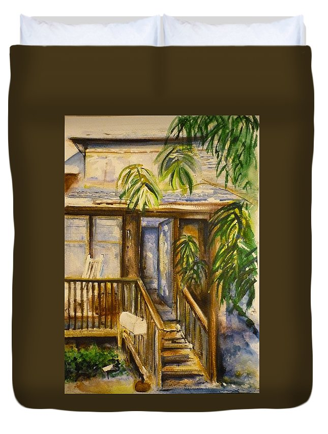 Blue Ridge Mountains Duvet Cover featuring the painting Blue Ridge Cabins Blue Ridge Mountains by Lizzy Forrester