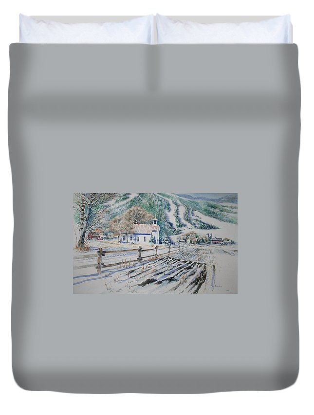 Landscape Duvet Cover featuring the painting Blue Ridge Church by Tom Harris