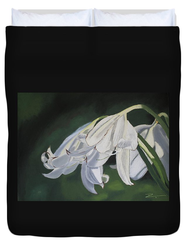 Flowers Duvet Cover featuring the painting Blue Ridge Lilly by D Turner