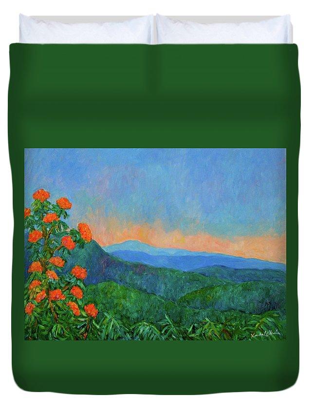 Kendall Kessler Duvet Cover featuring the painting Blue Ridge Morning by Kendall Kessler