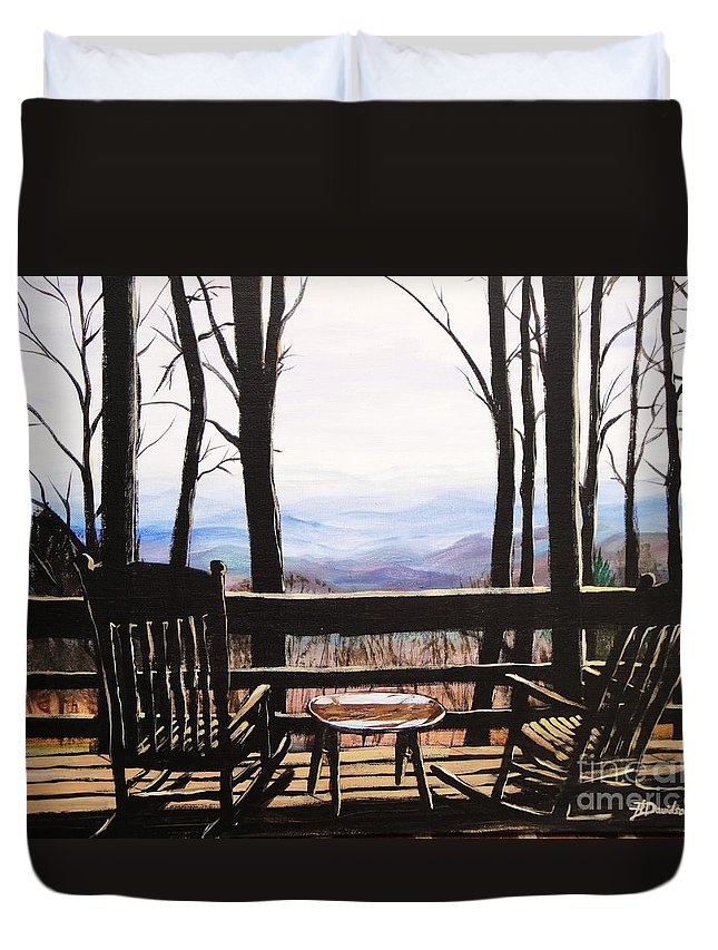 North Carolina Duvet Cover featuring the painting Blue Ridge Mountain Porch View by Patricia L Davidson