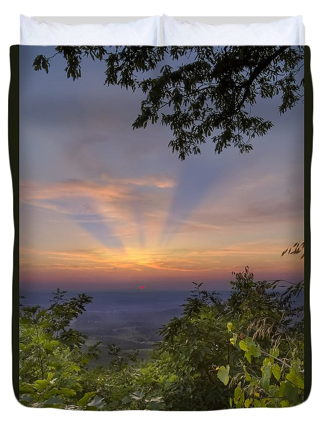 Fine Duvet Cover featuring the photograph Blue Ridge Mountain Sunset by Debra and Dave Vanderlaan