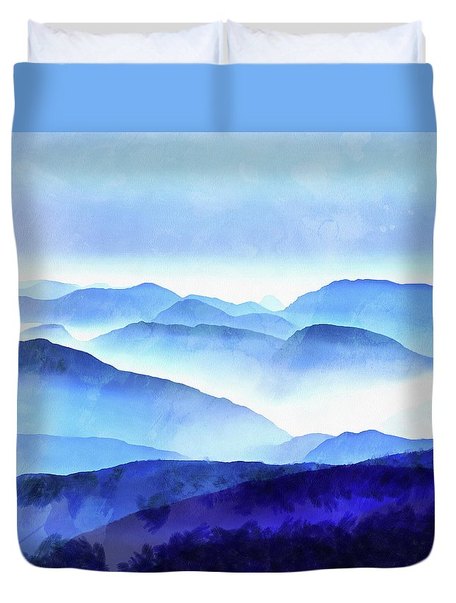 Painting Duvet Cover featuring the photograph Blue Ridge Mountains by Edward Fielding