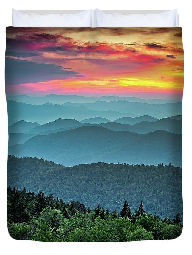 Blue Ridge Parkway Duvet Cover featuring the photograph Blue Ridge Parkway Sunset - The Great Blue Yonder by Dave Allen