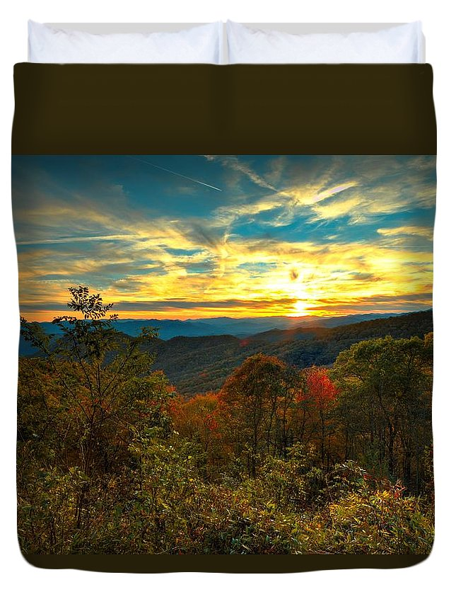 Carol R Montoya Duvet Cover featuring the photograph Blue Ridge Sunsets by Carol Montoya