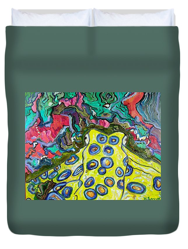 Octopus Duvet Cover featuring the painting Blue Ringed Octopus by Heather Lennox