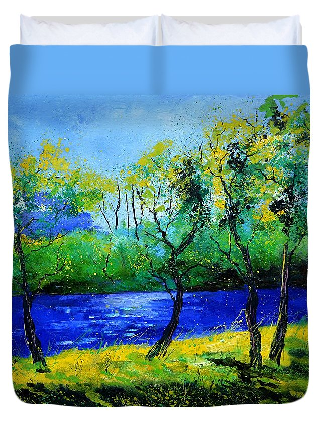 Landscape Duvet Cover featuring the painting Blue river by Pol Ledent