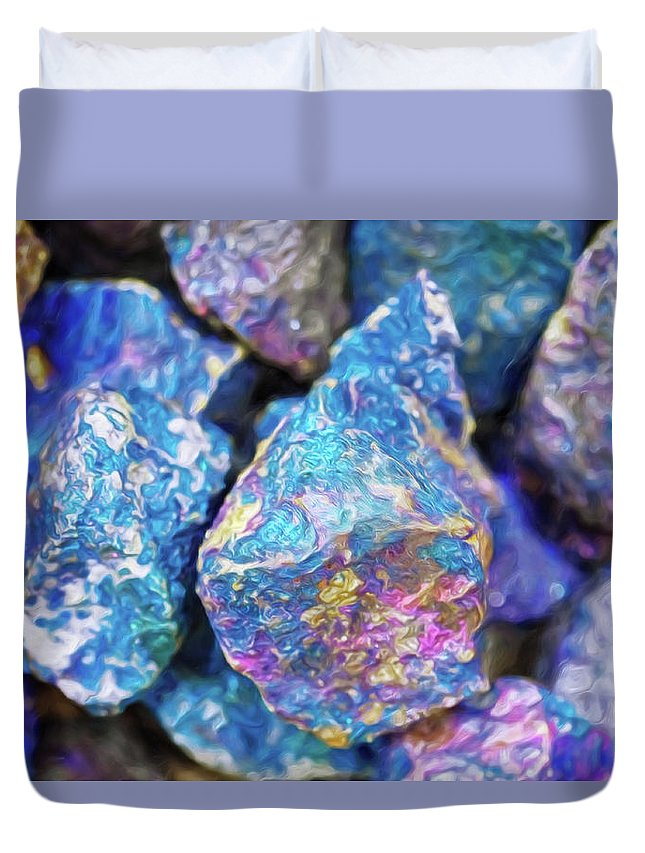 Blue Pink Shiny Quartz Granite Rocks Dark Contrast Color Chiaroscuro Renaissance Mehta Xephon Painting Cancer Hope Duvet Cover featuring the digital art Blue Rocks Hold by Doctor MEHTA