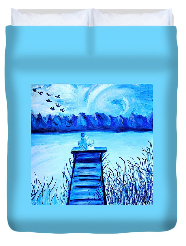 Blue Romance Duvet Cover featuring the painting Blue Romance by Art by Danielle