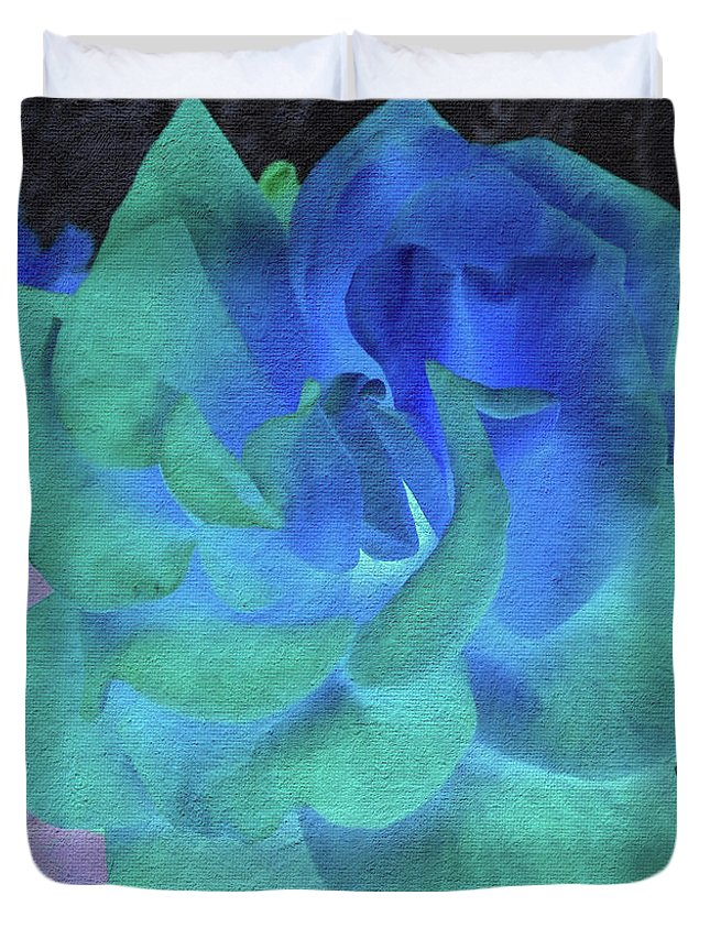 Florals Duvet Cover featuring the photograph Blue Rose by Linda Dunn