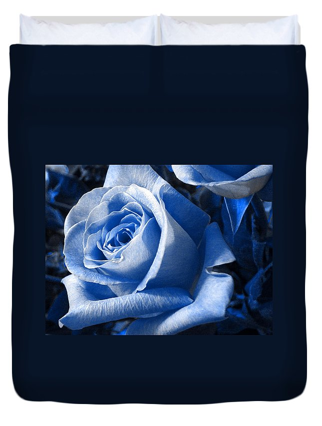 Blue Duvet Cover featuring the photograph Blue Rose by Shelley Jones