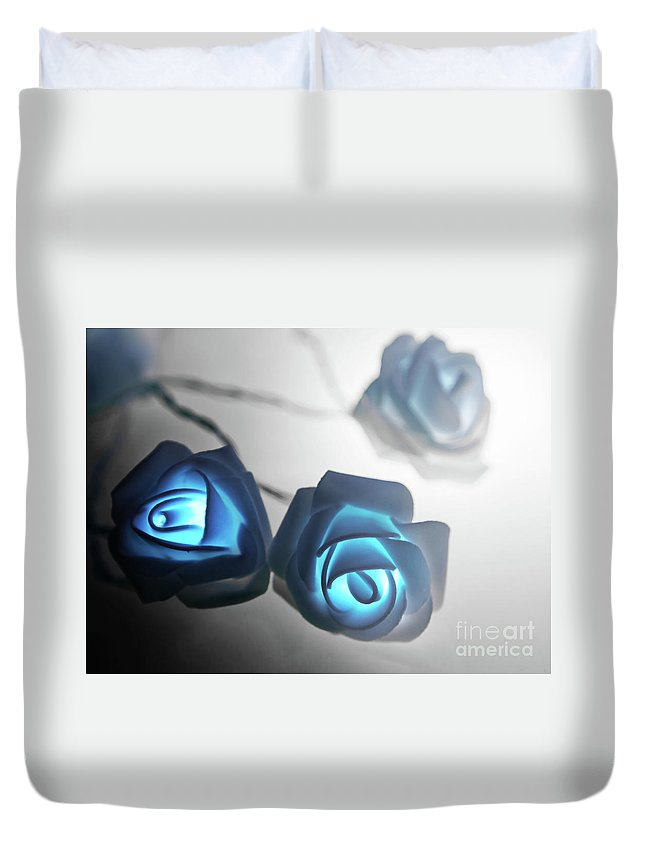 Blue Roses Duvet Cover featuring the photograph Blue Roses Shine by Alex Art and Photo