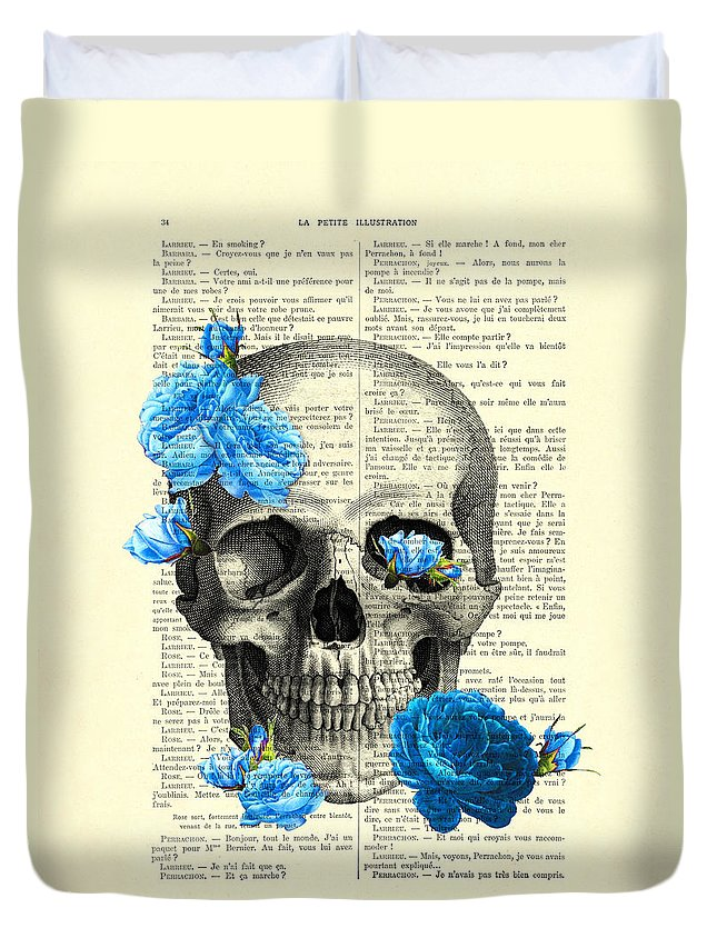 Rose Duvet Cover featuring the digital art Blue Roses With Skull Art Print by Madame Memento