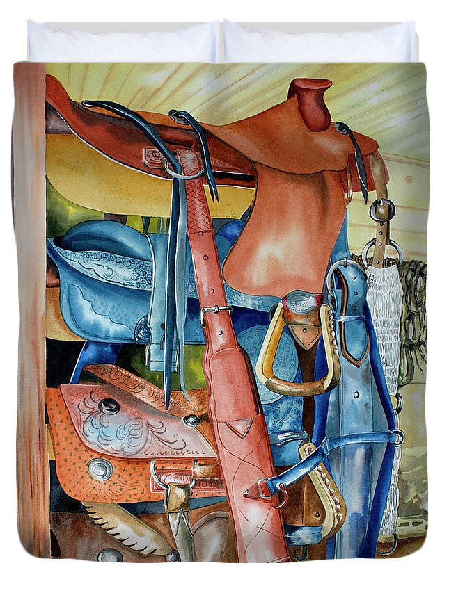 Blue Saddle Painting Duvet Cover featuring the painting Blue Saddle by Kandyce Waltensperger