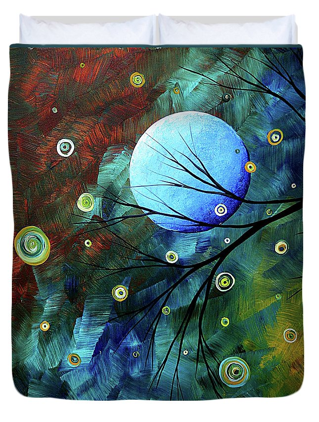 Art Duvet Cover featuring the painting Blue Sapphire 1 By Madart by Megan Duncanson