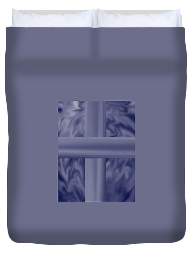 Blue Duvet Cover featuring the painting Blue Satin Cross by Anne Norskog