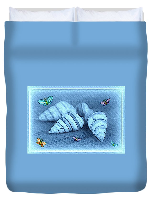 Shell Art Duvet Cover featuring the photograph Blue Seashells by Linda Sannuti