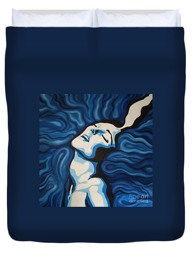 Blue Duvet Cover featuring the painting Blue Shimmers by Jindra Noewi