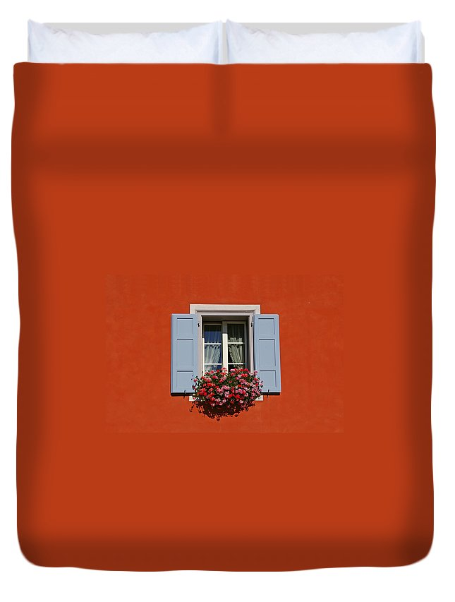 Red Duvet Cover featuring the photograph Blue Shutters by Tom Reynen