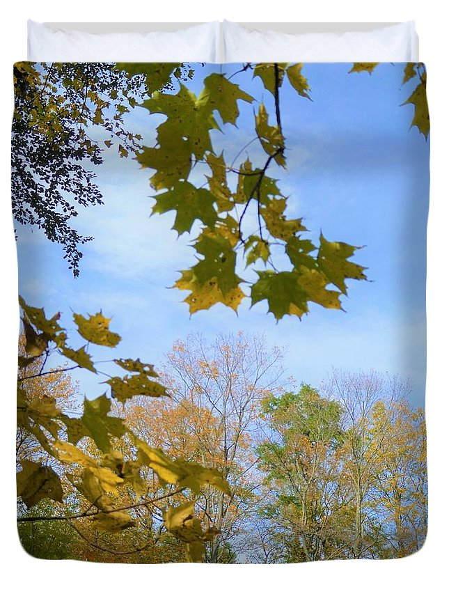 Spencer Gorge Ontario Autumn Leaves Yellow Duvet Cover featuring the photograph Blue Skies Ahead by The Sangsters