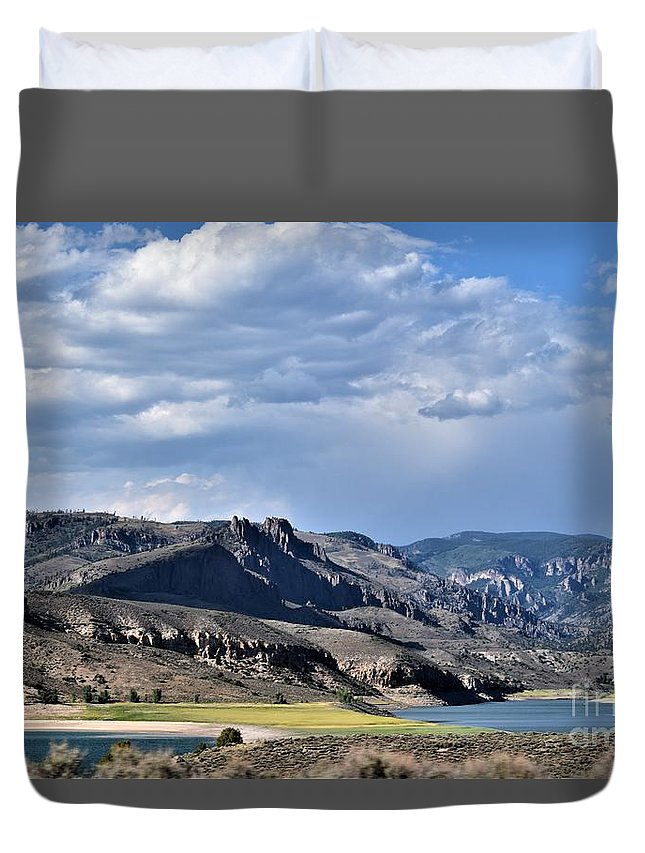 Beautiful Mountains With Shadows Duvet Cover featuring the photograph Blue Sky, Clouds With Mountain In Foreground by Gero