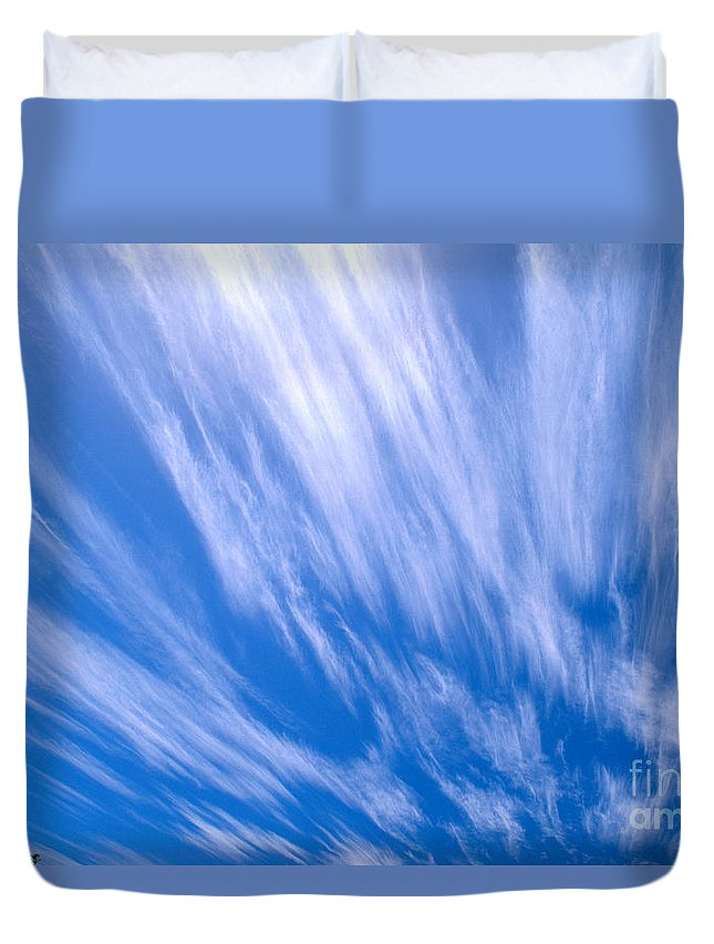 Active Duvet Cover featuring the photograph Blue Sky by Peter French - Printscapes