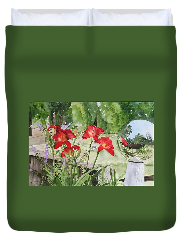 Flowers Duvet Cover featuring the painting Blue Sky Reflections by Jean Blackmer