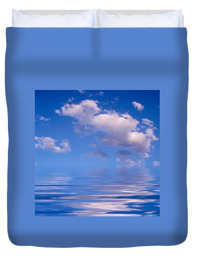 Original Art Duvet Cover featuring the photograph Blue Sky Reflections by Jerry McElroy